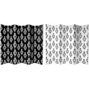 Oriental Furniture 6 ft. Tall Double Sided Black and White Damask Canvas Room Divider - 6 Panel at Kmart.com