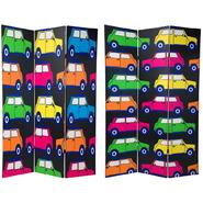 Oriental Furniture 6 ft. Tall Double Sided Colorful Cars Canvas Room Divider - 3 Panel at Kmart.com