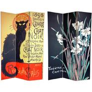 Oriental Furniture 6 ft. Tall Double Sided Chat Noir Canvas Room Divider - 3 Panel at Kmart.com