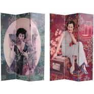 Oriental Furniture 6 ft. Tall Double Sided Shanghai Ladies Canvas Room Divider - 3 Panel at Sears.com