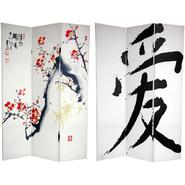 Oriental Furniture 6 ft. Tall Double Sided Cherry Blossoms and Love Canvas Room Divider - 3 Panel at Kmart.com