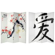 Oriental Furniture 6 ft. Tall Double Sided Cherry Blossoms and Love Canvas Room Divider - 4 Panel at Kmart.com