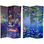 Oriental Furniture 6 ft. Tall Double Sided Monet's Water Lilies & Garden Path Art Print Canvas Room Divider - 3 Panel at Kmart.com