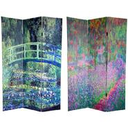 Oriental Furniture 6 ft. Tall Double Sided Bridge at Searose & Irises in Monet's Garden Art Print Canvas Room Divider - 3 Panel at Kmart.com