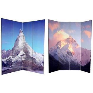 Oriental Furniture 6 ft. Tall Double Sided Matterhorn/Everest Canvas Room Divider - 4 Panel