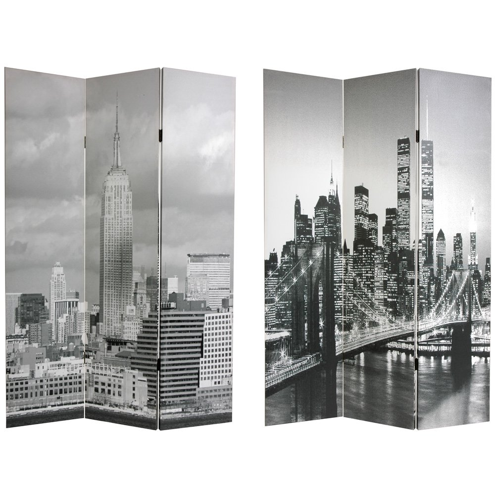 Oriental Furniture 6 ft. Tall Double Sided New York Scenes Canvas Room Divider - 3 Panel