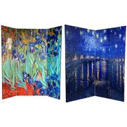 Oriental Furniture 6 ft. Tall Double Sided Van Gogh's Irises & Starry Night Art Print Canvas Room Divider - 4 Panel at Kmart.com