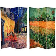 Oriental Furniture 6 ft. Tall Double Sided Van Gogh's Caf Terrace & View of Arles Art Print Canvas Room Divider - 3 Panel at Kmart.com