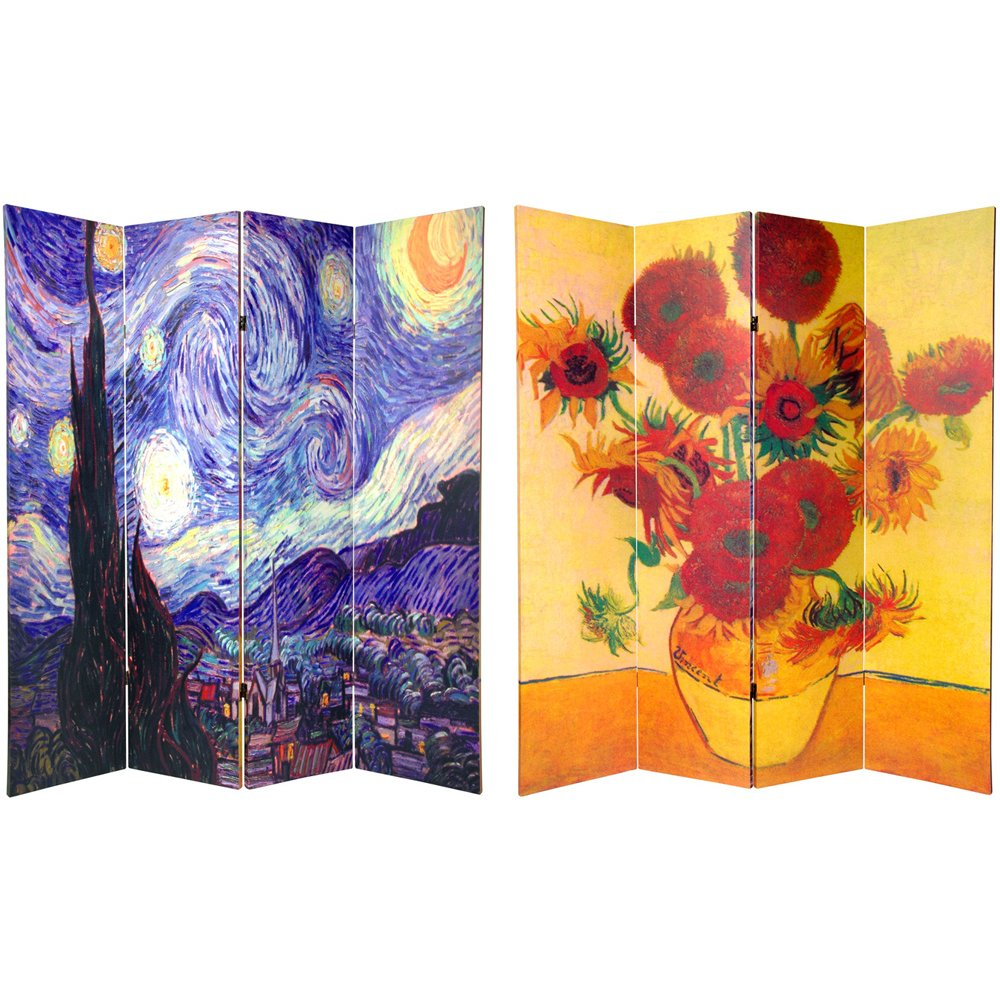 Oriental Furniture 6 ft. Tall Double Sided Works of Van Gogh Canvas Room Divider - 4 Panel