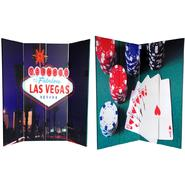 Oriental Furniture 6 ft. Tall Double Sided Las Vegas Poker Canvas Room Divider - 4 Panel at Kmart.com