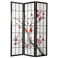 Oriental Furniture 6 ft. Tall Cherry Blossom Shoji Screen - Black at Kmart.com