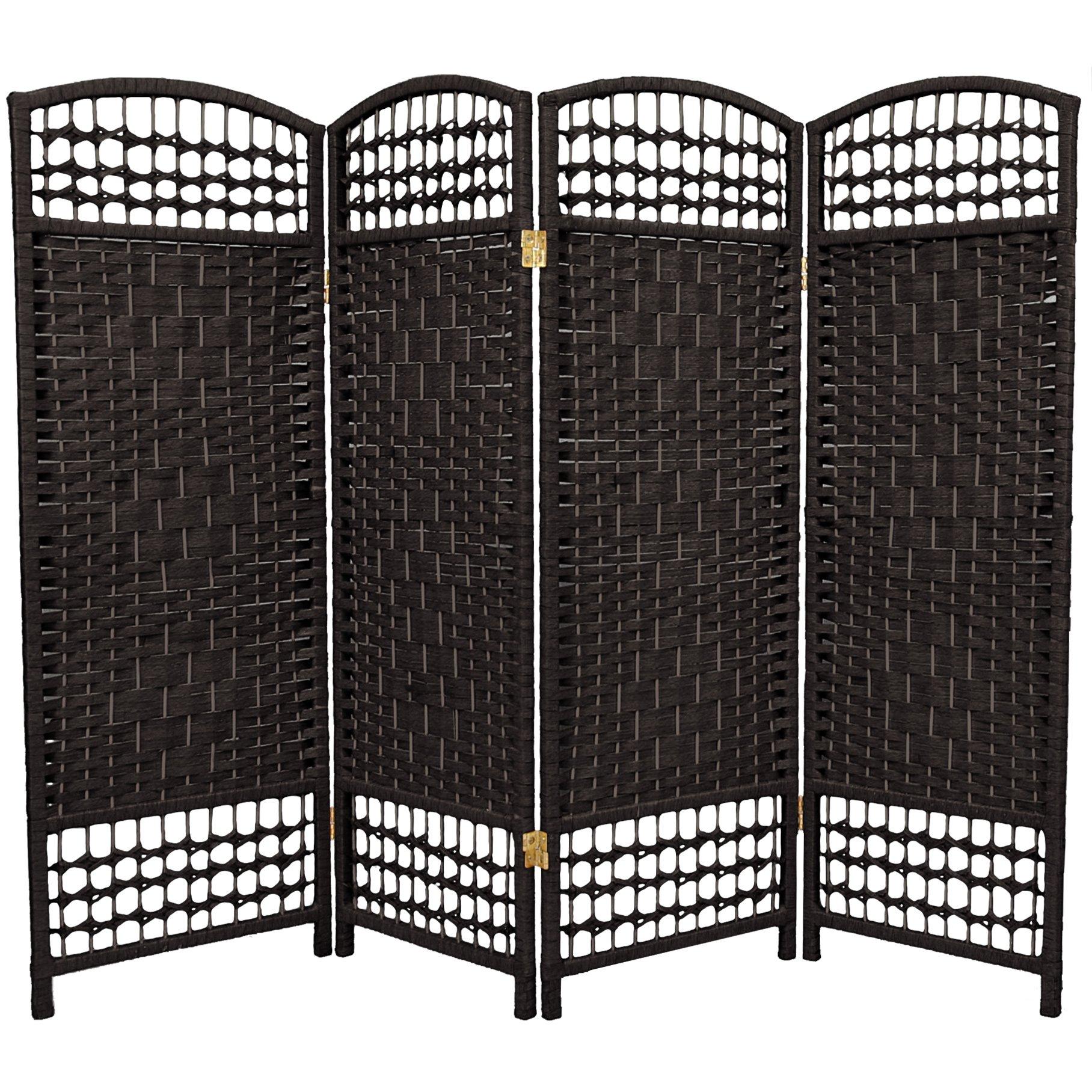 Oriental Furniture 4 ft. Tall Fiber Weave Room Divider - 4 Panel - Black