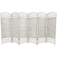 Oriental Furniture 4 ft. Tall Fiber Weave Room Divider - 6 Panel - White at Kmart.com