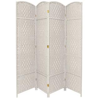Oriental Furniture 7 ft. Tall Diamond Weave Room Divider - 4 Panel - White