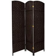 Oriental Furniture 6 ft. Tall Diamond Weave Fiber Room Divider - 3 Panel - Black at Kmart.com