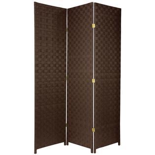 Oriental Furniture 6 ft. Tall Woven Fiber Outdoor All Weather Room Divider - 3 Panel - Dark Brown