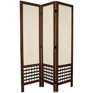 Oriental Furniture 5 1/2 ft. Tall Open Lattice Fabric Room Divider - 3 Panel - Burnt Brown at Kmart.com