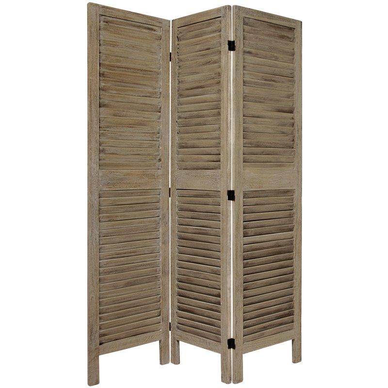 Oriental Furniture 5 1/2 ft. Tall Classic Venetian Room Divder - 3 Panel - Burnt Grey