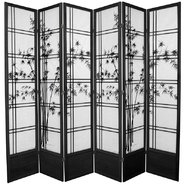 Oriental Furniture 7 ft. Tall Bamboo Tree Shoji Screen - 6 Panel - Black at Sears.com