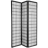 Oriental Furniture 6 ft. Tall Window Pane Shoji Screen - Double Sided - 3 Panel - Black at Kmart.com