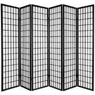 Oriental Furniture 6 ft. Tall Window Pane Shoji Screen - Double Sided - 6 Panel - Black at Kmart.com