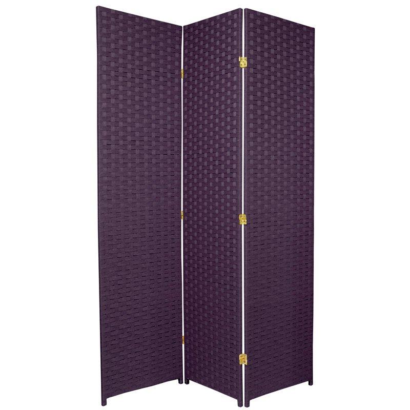 Oriental Furniture 6 ft. Tall Woven Fiber Room Divider - Special Edition - 3 Panel - Deep Purple PartNumber: 00839185000P KsnValue: 5408212 MfgPartNumber: SSFIBER2-3P-PRL