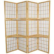 Oriental Furniture 5 1/2 ft. Tall Window Pane with Shelf Room Divider in Natural at Kmart.com