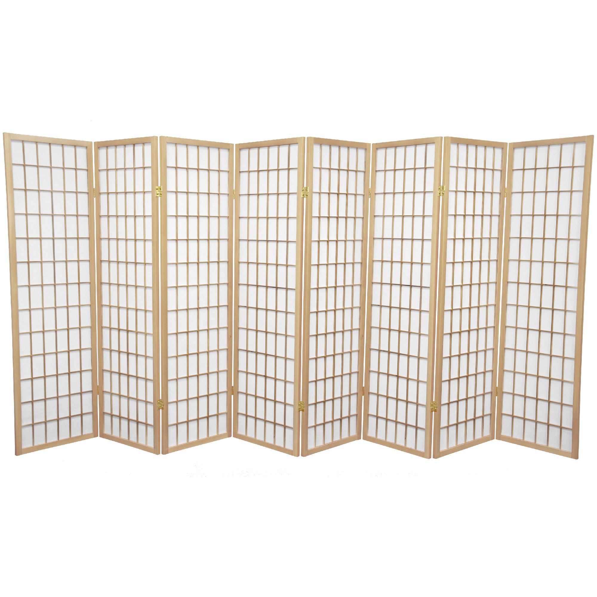 Oriental Furniture 5 ft. Tall Window Pane Shoji Screen - 8 Panel - Natural, Beige & Tan