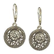 Lita Silver Tone Rhinestone Accented Coin Shape Drop Earring at Kmart.com