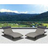 Atlantic Santorini 2 Piece Deluxe Grey Synthetic Wicker Patio Lounger Set With Grey Head Cushion at Kmart.com