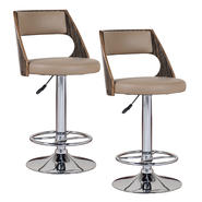 LEICK FURNITURE Leick Saddle Bentback Adjustable Height Swivel Bar Stool with Mocha Highlights- Set of 2 at Kmart.com