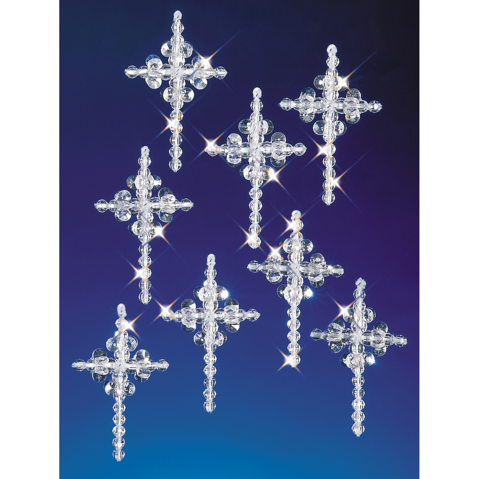 "Holiday Beaded Ornament Kit Crystal Crosses 1.25"" Makes 6"