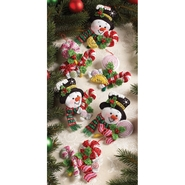 "Candy Snowman Ornaments Felt Applique Kit 4 1/2""X4 1/2"" Set Of 6 at Kmart.com"