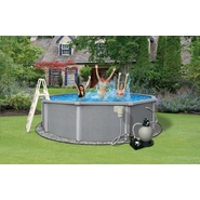 "Swim Time Zanzibar Round 54"" Deep 8-in Top Rail Metal Wall Swimming Pool Package at Sears.com"