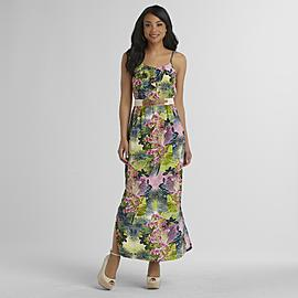 Attention Women's Belted Maxi Dress - Tropical Print at Kmart.com
