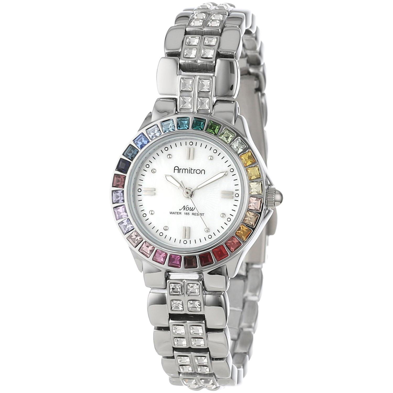 Armitron Ladies Multi-Color Swarovski Crystal Accented Silver-Tone Bracelet Watch