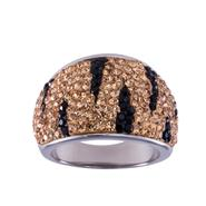 Stainless Steel Black & Champagne Crystal Zebra Dome Ring at Sears.com