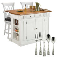 Kitchen Island with Deluxe Bar Stools and Flatware Bundle at Sears.com