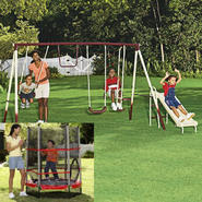 Cameron 4 Leg 5 Station Swing Set & Trampoline Bundle at Sears.com
