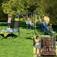 Jump N Swing 6-Leg Swing Set & Trampoline Bundle     ...