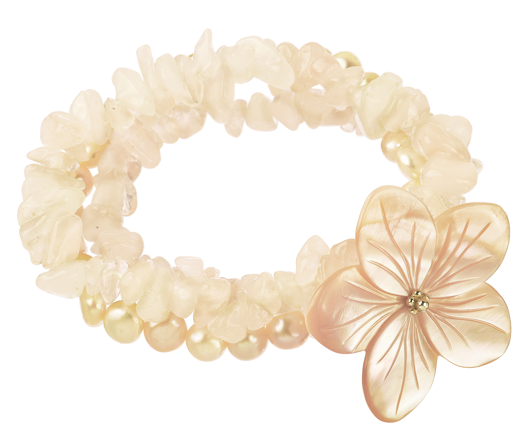 Lita Pink Shell Flower With Pink Fresh Water Pearl Stretch Bracelet