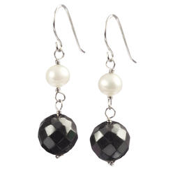 Lita Sterling Silver Faceted Hematite and White Pearl Drop Earrings at Kmart.com