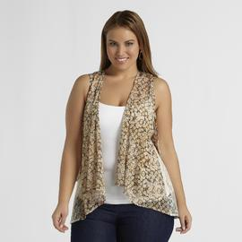 Love Your Style, Love Your Size Women's Plus Lace Chiffon Vest at Kmart.com