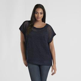Love Your Style, Love Your Size Women's Plus Crocheted Overlay Top at Kmart.com