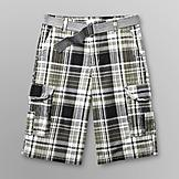 Route 66 Men's Belted Woven Shorts - Plaid at mygofer.com