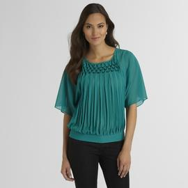 Jaclyn Smith Women's Chiffon Blouse - Honeycomb Pleats at Kmart.com