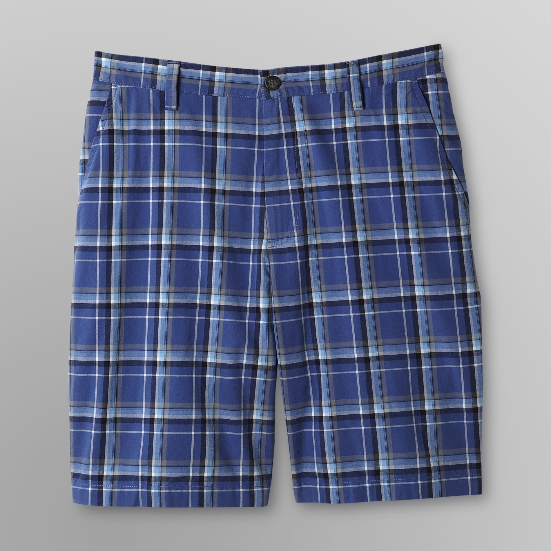 Basic Editions Men's Flat-Front Shorts - Plaid at Kmart.com