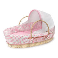 Badger Basket Natural Moses Basket with Fabric Canopy - Pink Polka Dot Bedding at Kmart.com