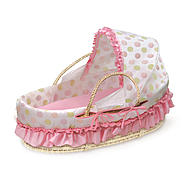 Badger Basket Natural Moses Basket with Fabric Canopy - Pink and Sage Dot Bedding at Kmart.com