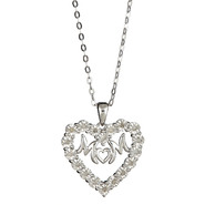Sterling Silver 1/10 cttw Diamond Mom Heart Pendant at Sears.com
